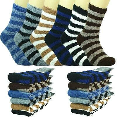 Lot 3-12 Pairs Mens Soft Cosy Fuzzy Warm Home Striped Slipper Socks Size 9-13
