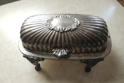 Vintage FB Rogers Silver Company Silverplate Roll Top Footed Butter Dish
