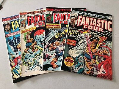 Lot Of 4 Fantastic Four Marvel Comic Books # 155 157 158 159 Human Torch NP2