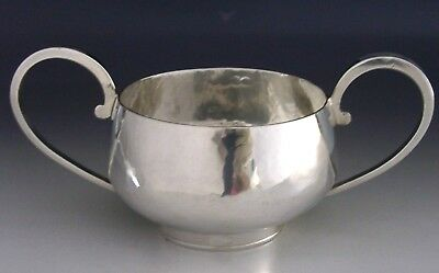 MODERNIST ENGLISH HAND MADE STERLING SILVER PLANISHED BOWL 1960 HEAVY 154g