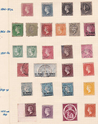 Commonwealth. West Indies. St Vincent c1862-1909  issues on  TWO PAGES