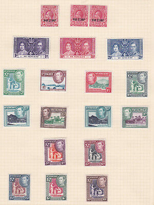 Commonwealth. West Indies. Mainly George VI St Vincent issues on  THREE PAGES