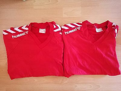 Rare Vintage Hummel 1980s Football Jersey Red Old School Denmark XL D8/9