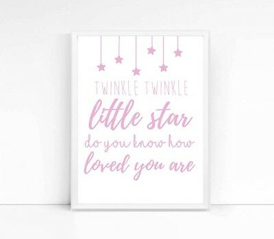 Twinkle Twinkle Little Star A4 Print- Nursery- Children's Print- Quote- Pink