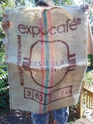 """Coffee Bean Burlap Sack  35"""" x 27"""" Excelso Expocafe Colombian Coffee EMPTY SACK"""
