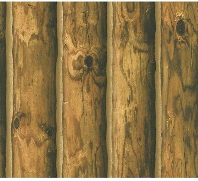 Logs Wall Paper Wallpaper Mountain Cabin Wood Realistic Washable Rustic Brown
