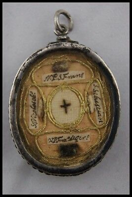 † 17Th Dnjc True Cross Sterling Flagellation Reliquary 5 Relics O.f.m. + S.j. †