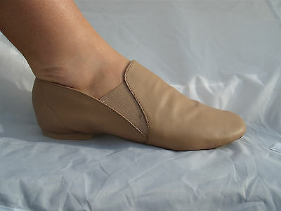 Tan / Nude Slip On Soft Leather Split Sole Jazz Dance Shoes