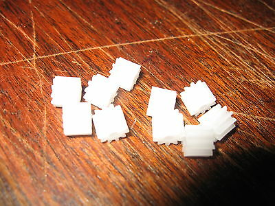 10 White Pinion Spur Gears - 12 Tooth To Boost Scalextric And Other Slot Cars