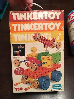 Tinkertoy Set 550 Vintage Build Wooden With Motor Wheels Box