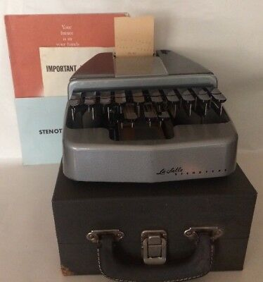 VTG La Salle Stenographers Shorthand Stenotype Machine Original Hardshell Case