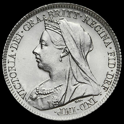 1900 Queen Victoria Veiled Head Silver Sixpence, BU