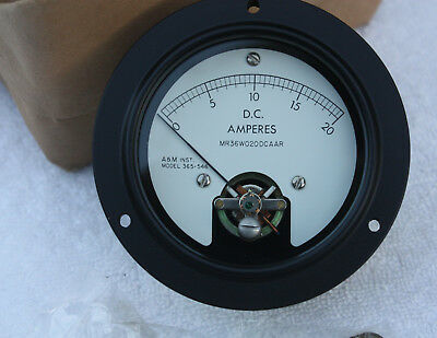A & M Inst. D. C. Amperes Gauge Meter  0 - 20 Model 365-546 Mr36W020Dcaar Nos