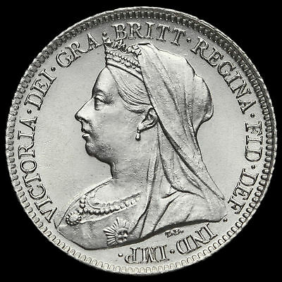 1901 Queen Victoria Veiled Head Silver Sixpence, A/UNC