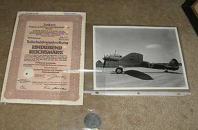 WWII German Junkers factory bond, tag and photo