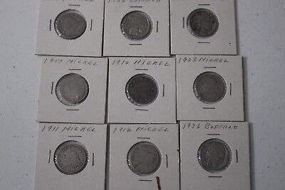 Early 1900's Nickels, Buffalo and Liberty Head Lot of 18 Coins
