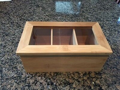 Tea Bag Storage Box Bamboo Organizer 3 Sections  Container