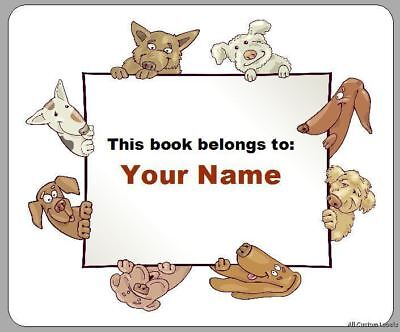 Custom Personalized Bookplates - Cute Dogs Border for Kids Books