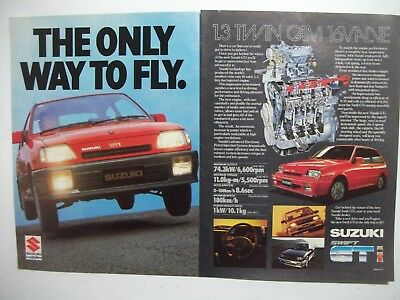1986 SUZUKI SWIFT GTi THE ONLY WAY TO FLY AUSTRALIAN MAGAZINE 2 PAGE ADVERT