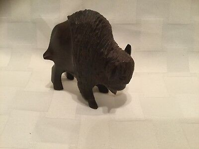 Beautiful Hand Carved Bison Buffalo Iron Wood, E1