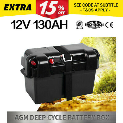 Battery Box 130AH AGM Deep Cycle Dual System 12V 100AH USB Adpt