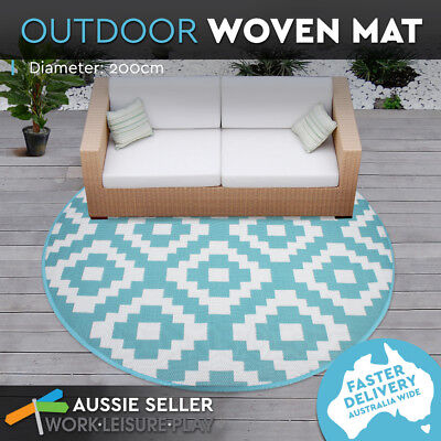 Outdoor Plastic Rug Mat Recycled Polypropylene Patio 200cm Round Blue Knit