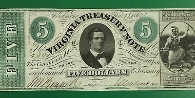 1861 $5 Virginia TREASURY NOTE Choice VF! Very Nice! Old US LARGE SIZE Currency!