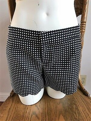 ad229b0448 Club Monaco Polka Dot Black Dark Navy Scallop Hem Trim Work Unique Shorts Sz  0