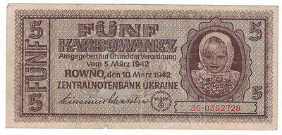 Ukraine (German Occupation) - 1942 5 Karbowanez Banknote (P-51)