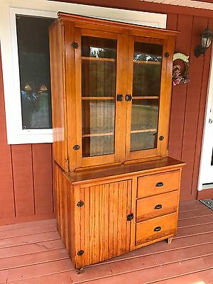 1920s Step-Back Beadboard 2 Piece Cupboard Cabinet