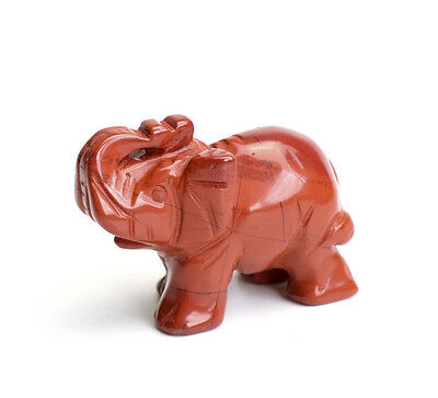 2.0 INCHES Natural Red Jasper Carved Crystal Reiki Healing Elephant Figurine