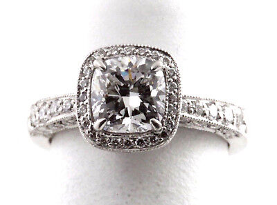 2 Ct TW JB Star Cushion Halo Diamond Platinum Ring GIA D SI2 Sz 3 1/4 WHOLESALE