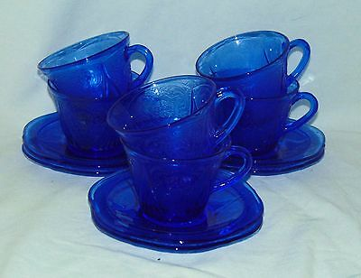 6 Hazel Atlas ROYAL LACE BLUE *CUPS & SAUCERS*