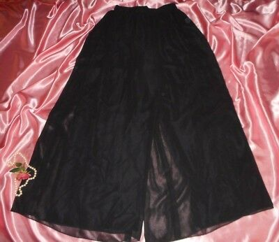 USA 10 Black Chiffon Palazzo Pants Adrienna Papell Dance Eveningwear semi formal
