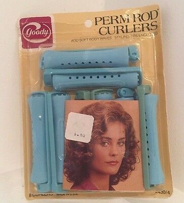 NEW Goody Perm Rod 8 Blue Curlers #430/4 Vintage 1982 Soft Wavy Curls