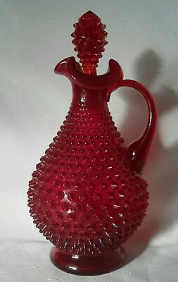 Vintage Fenton Ruby Hobnail Glass Decanter with Stopper 30.5cm H . BERWICK
