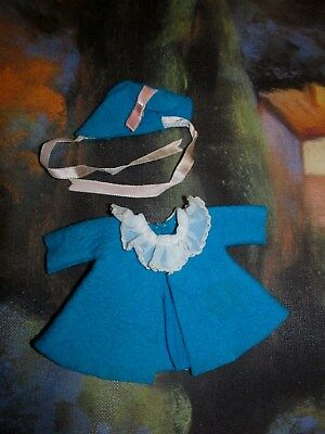 """Sweet Little 1950s Turquoise Factory Coat and Bonnet for 8"""" Betsy McCall MINT!"""