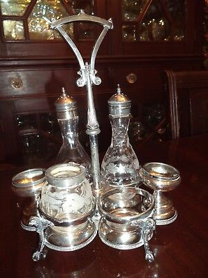 Antique Wilcox Silver Plated Victorian Etched Glass Cruet Set