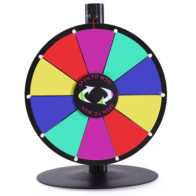 """Upgraded Editable 15"""" 10 Slot Color Prize Wheel Fortune Tabletop Spinning Game"""