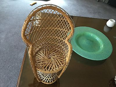 Vintage / Retro Dolls Wicker Chair Teddy Bear Peacock Style ALSO PLANT HOLD15.5""