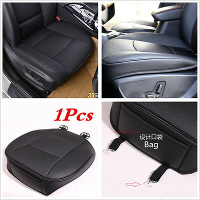 1XBlack PU leather Universal Car Front Row Seat Cover Seat Protector Cushion Pad