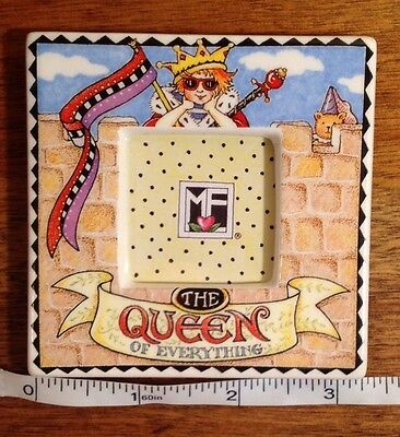 """1995 Mary Engelbreit The Queen Of Everything Ceramic Mini Frame, 3.25"""" x 3.25"""""""