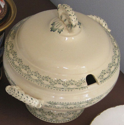 Antique Soup Terrine with lid Boch Carlottan  - rare condition Cream and Green