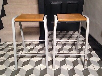 Pair Vintage Metal School Stools / Wooden Seat - 62cm High / Painted Grey Legs