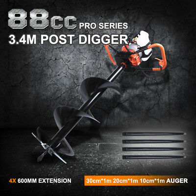 Post Hole Digger 88cc Posthole Earth Auger Fence Borer Petrol Drill Bit