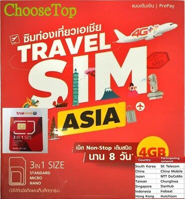 Travel Sim Asia 4 GB Non-stop internet in 13 Countries ,only TDD-LTE in China