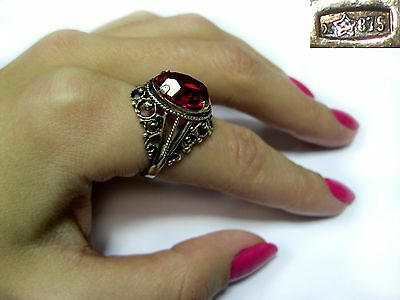 Vintage USSR RING SILVER GOLD PLATED 875 Star Size 8 RED STONE 6,54g