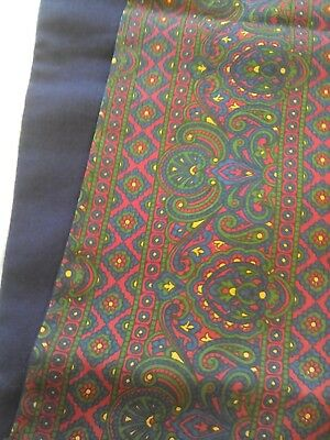 Mens Vintage Scarf in a Red Paisley Silk and a Navy Blue Wool - As New See Pics