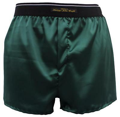 Men's Super soft shiny SATIN boxer shorts sexy DARK GREEN Made in France by PJW