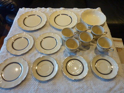 Johnson Bros England 'victorian' Assorted Dinnerware 15 Piece A/f Ivory / Silver